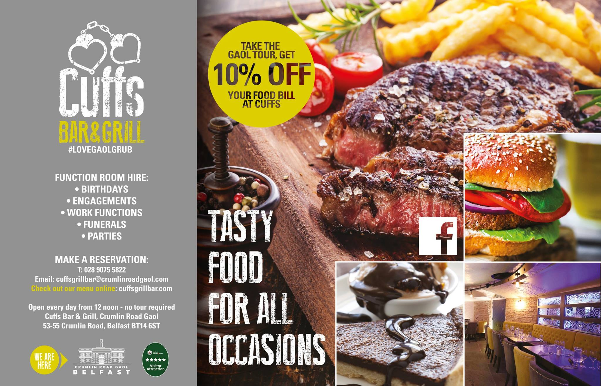 cuffs bar grill book restaurants online with resdiary